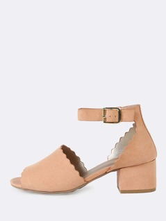 Scalloped Trim Peep Toe Faux Suede Ankle Strap Low Block Heel BLUSH