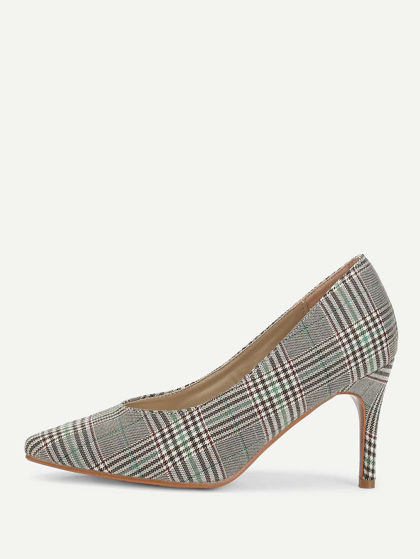 Gingham Print Pointed Toe Stiletto Heels цена 2017