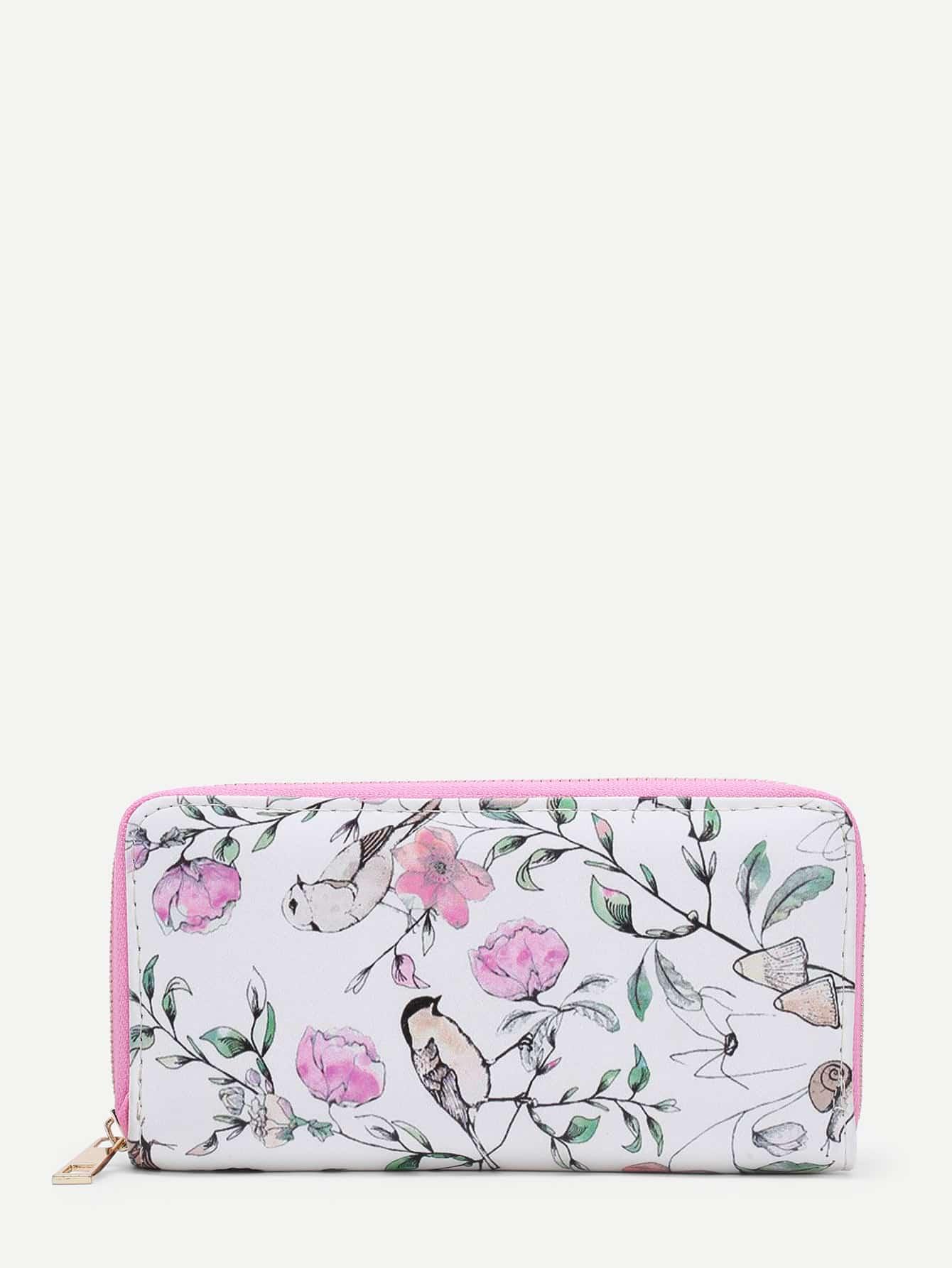 Flower Print PU Purse flower print pu purse
