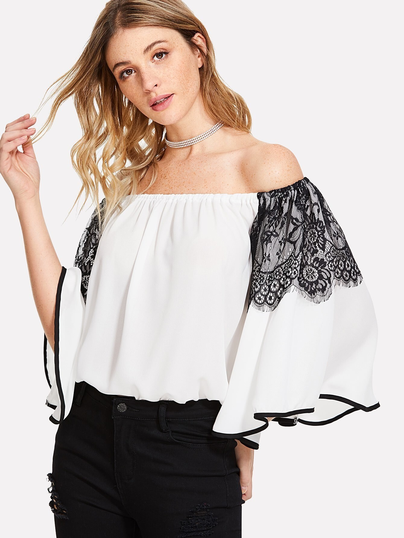 Lace Detail Contrast Binding Bardot Top v notch faux feather detail bardot top