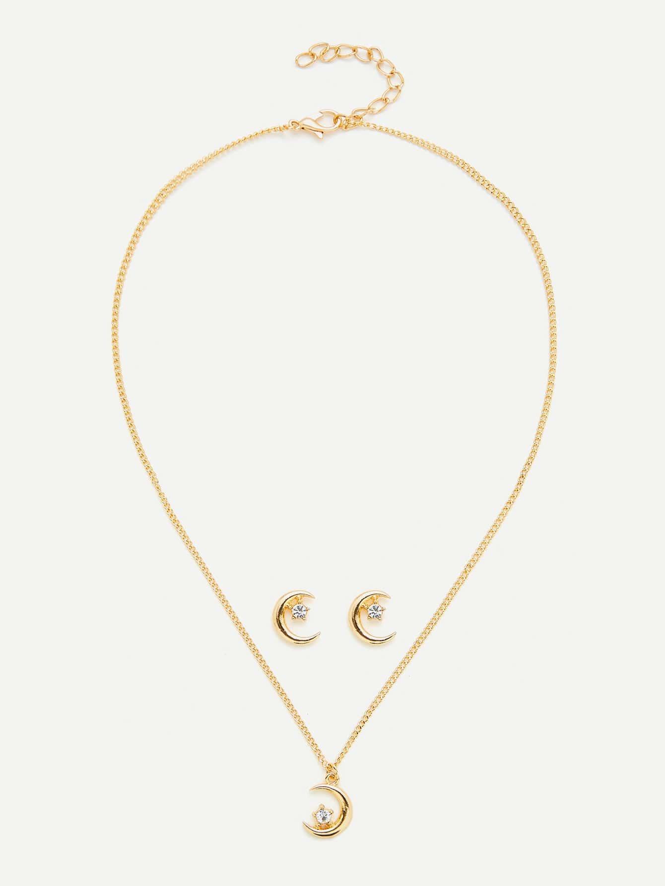Moon Design Pendant Necklace & Earring Set er 3789 stylish retro jewelled pendant earring navy blue 2 pcs