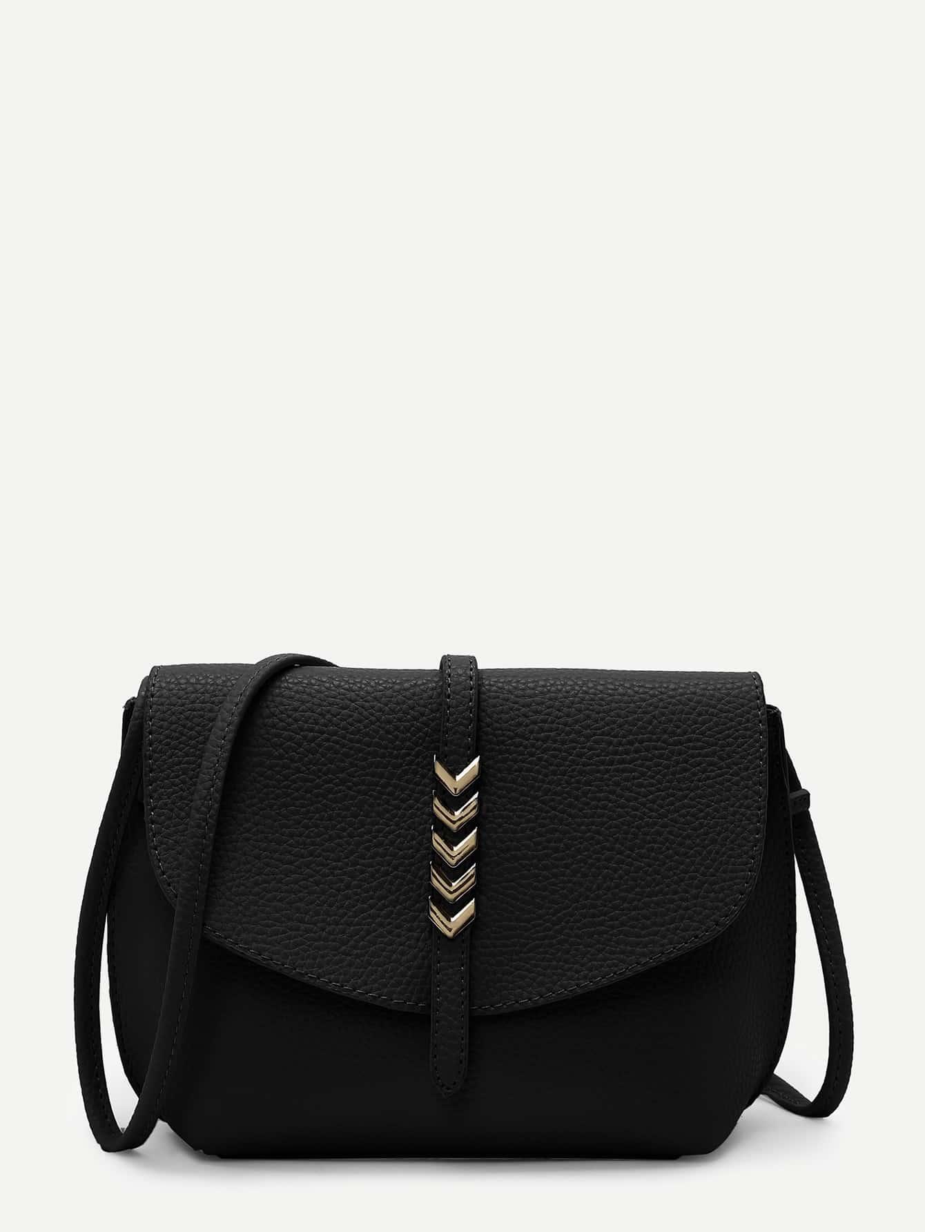 цена Metal Arrow Front PU Crossbody Bag