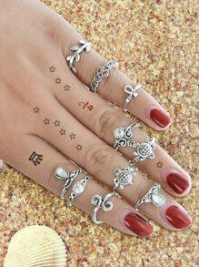 10Pcs/Set Starfish Leaf White Opal Rings