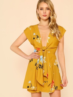 Floral Print Cap Sleeve Wrap Dress MUSTARD