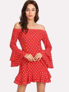 Ruffle Cuff And Hem Polka Dot Bardot Dress