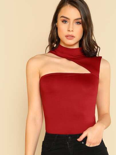 Asymmetric Cutout Sleeveless Top