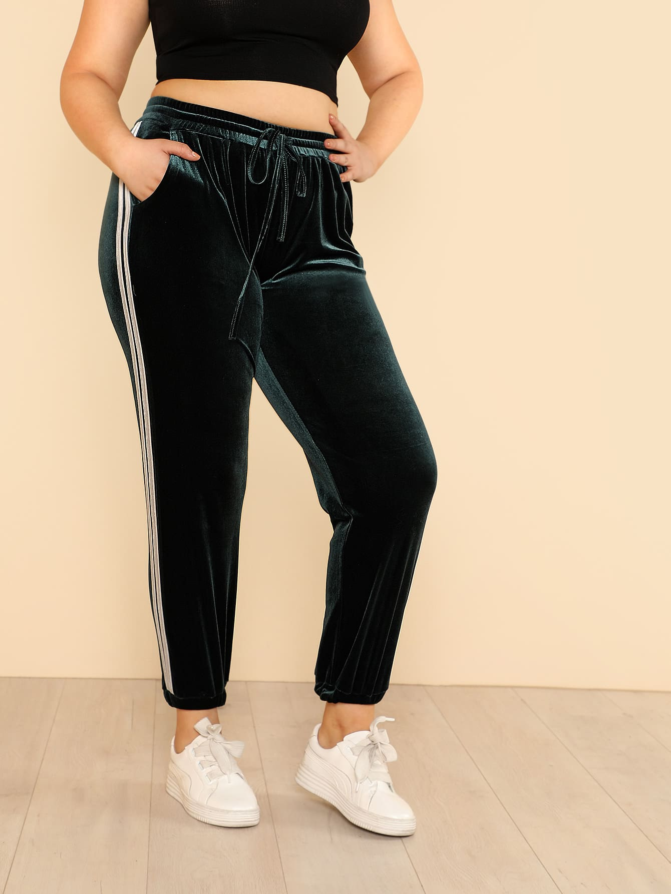 Striped Tape Side Velvet Sweatpants contrast striped side sweatpants