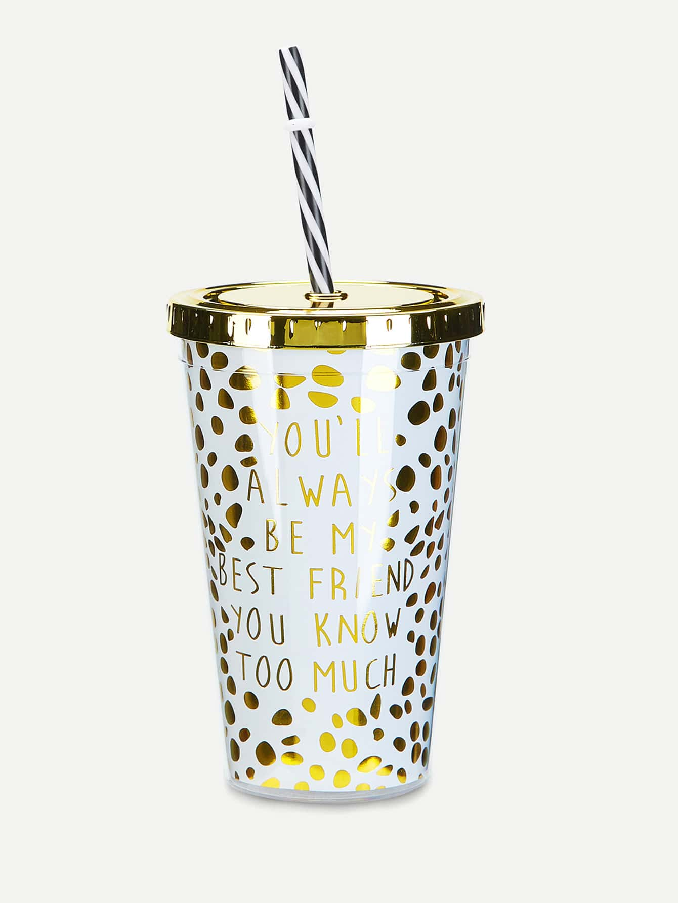 Dot Tumbler Cup With Lid & Straw