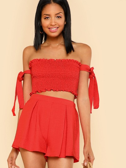 Shirred Crop Top with Off Shoulder Tie and Matching Mini Skirt RED