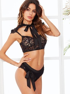Tie Neck Eyelash Lace Bra Set