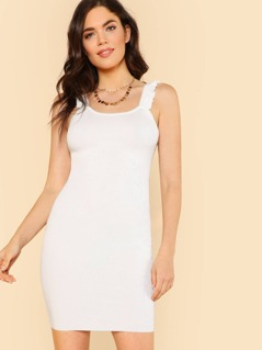Ruffle Strap Ribbed Knit Tank Dress WHITE