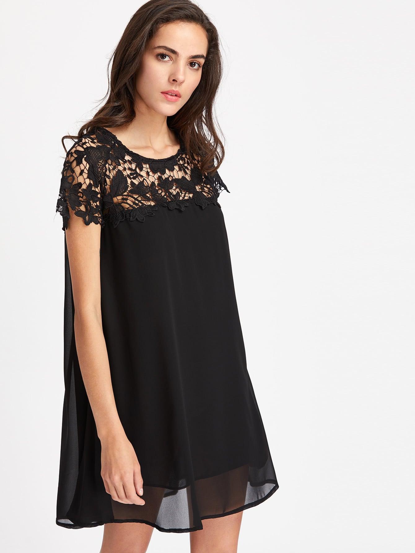 Contrast Crochet Lace Chiffon Dress
