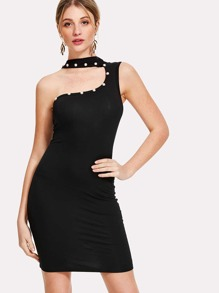 Asymmetrical Neck Form Fitting Dress