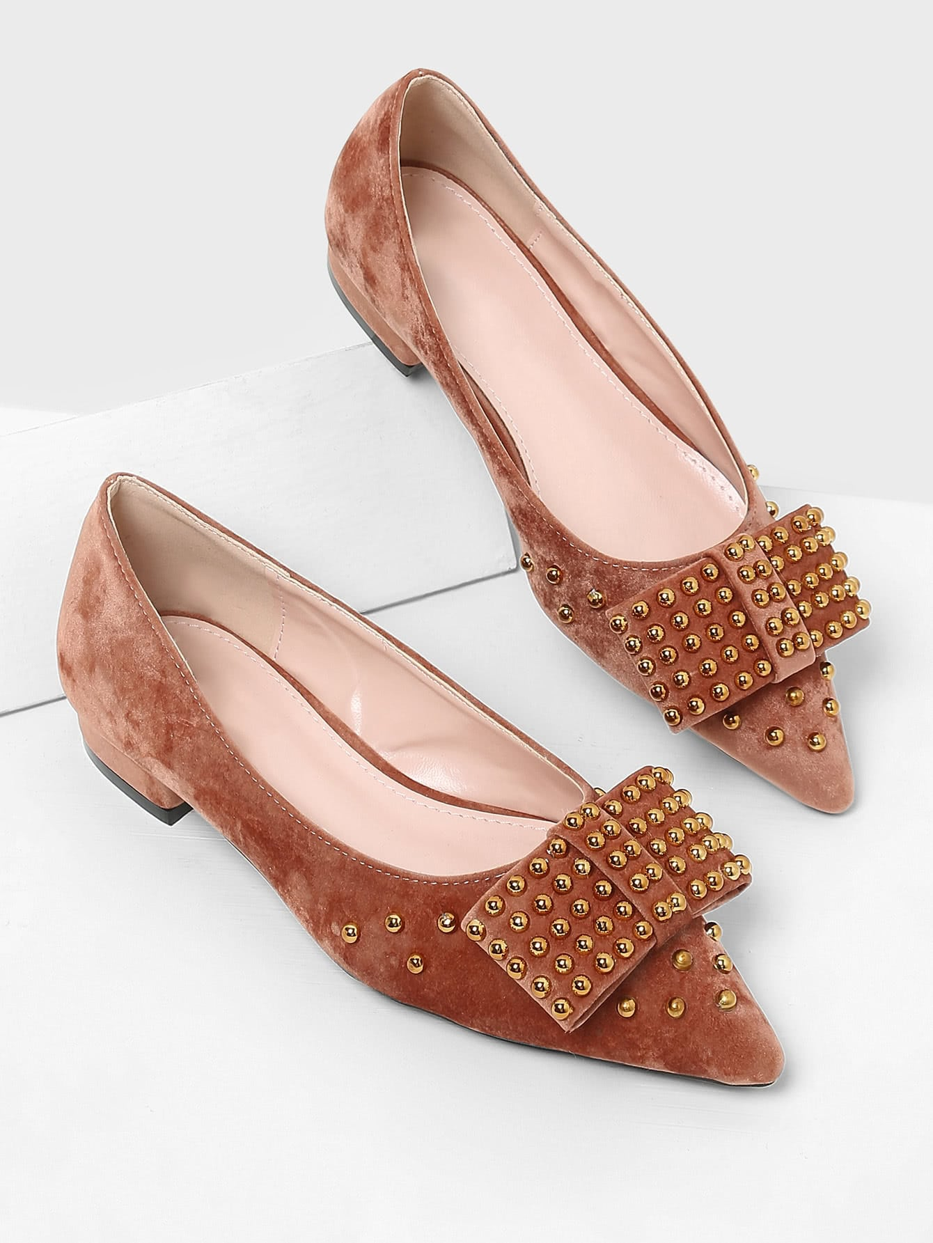 Studded Design Pointed Toe Flats майки спортивные diamond майка спортивная