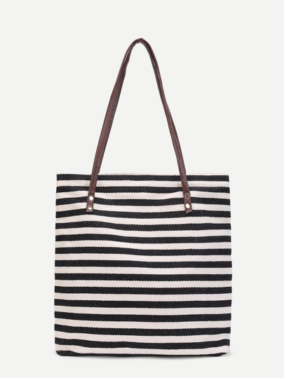 Striped Shoulder Bag With Double Handle