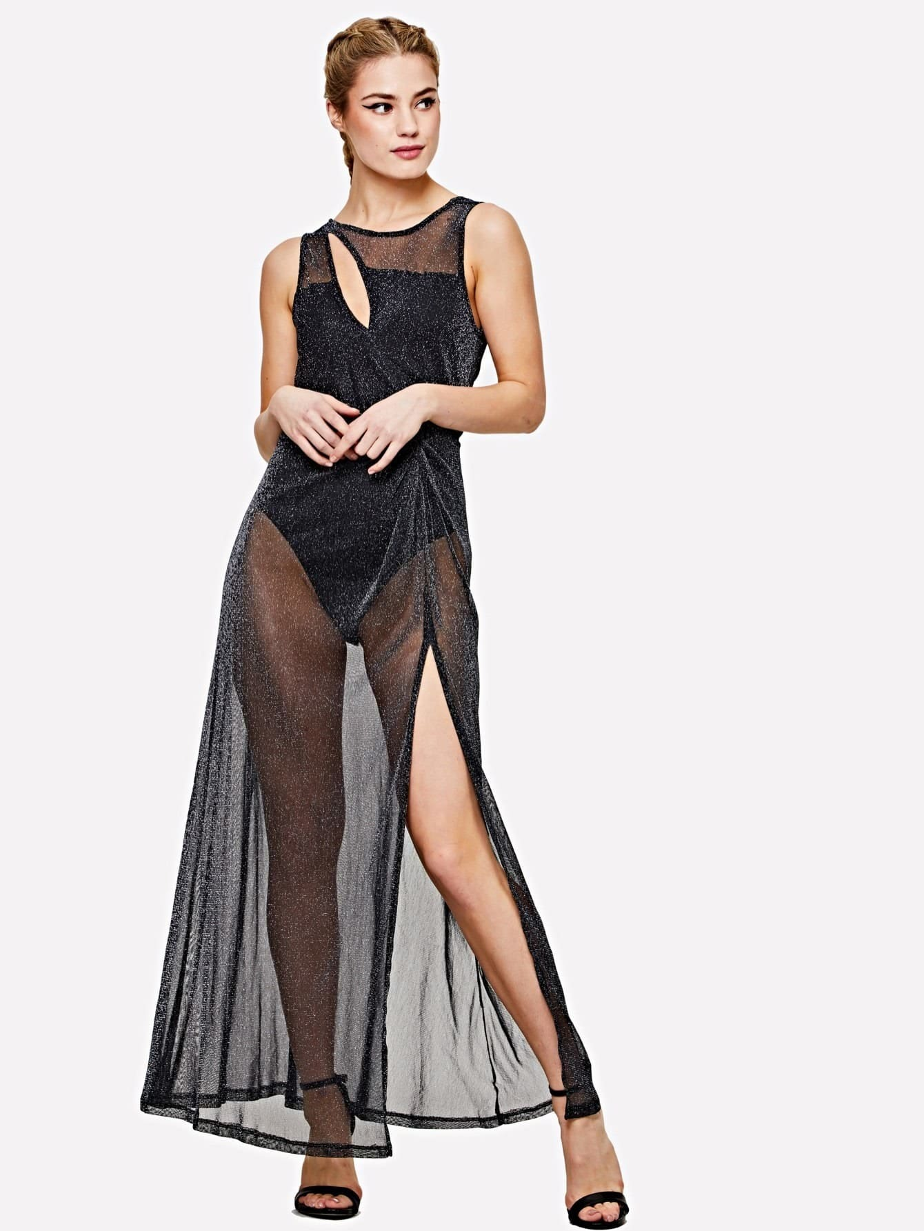 цены Slit Front Transparent Glitter Dress