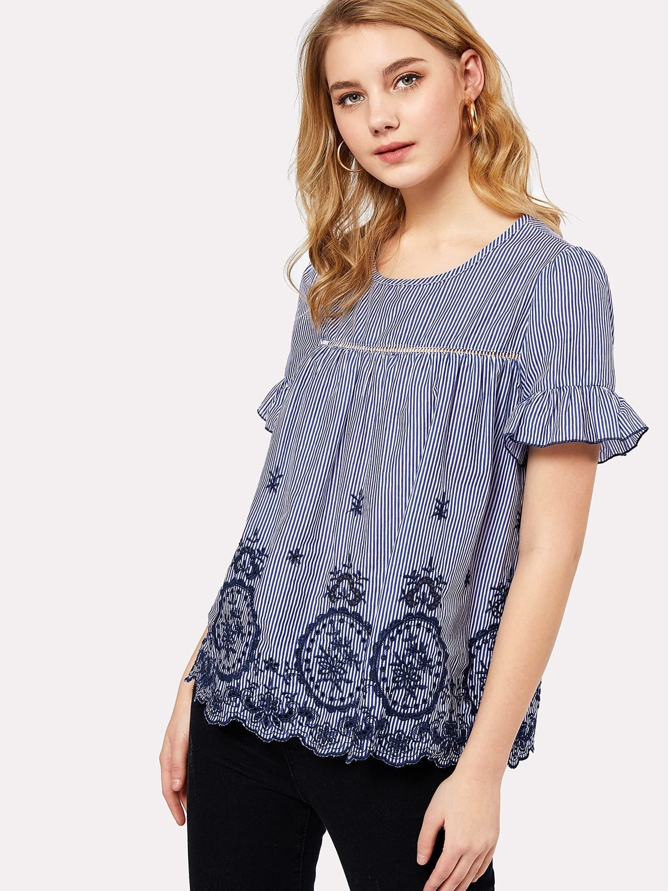 Ruffle Sleeve Eyelet Embroidered Scallop Hem Top scallop waist ruffle hem crop pants