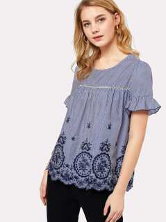 Ruffle Sleeve Eyelet Embroidered Scallop Hem Top