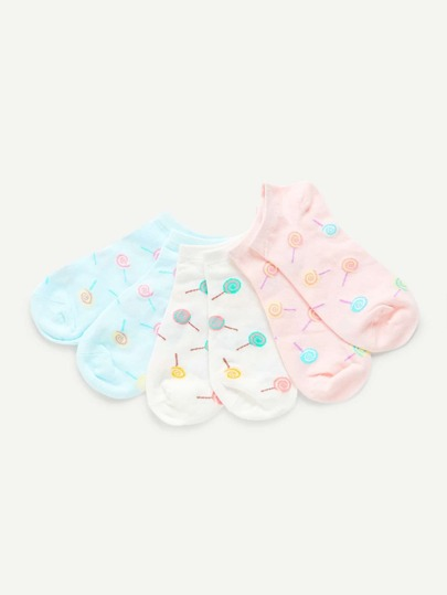 Cartoon Pattern Invisible Socks 3pairs