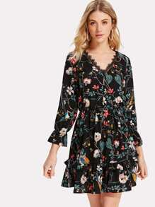 Lace And Ruffle Detail Calico Dress