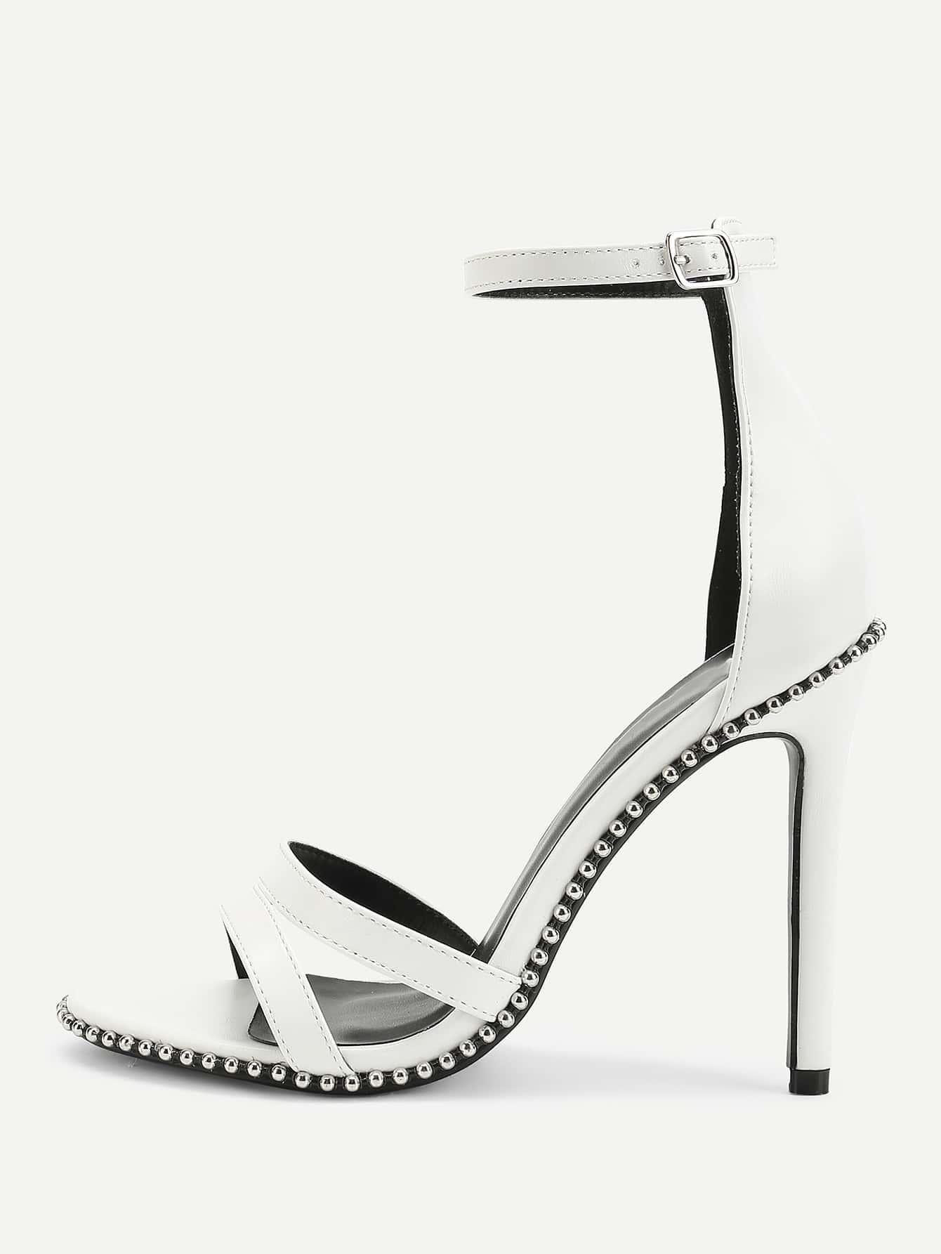Studded Detail Ankle Strap Stiletto Heels stiletto metallic ankle strap heels