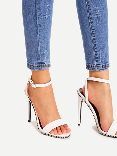 Studded Detail Strappy Stiletto Heels