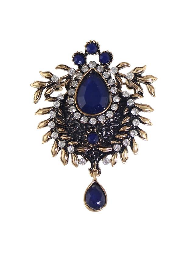 Blue Bronze Rhinestone Flower Brooch все цены