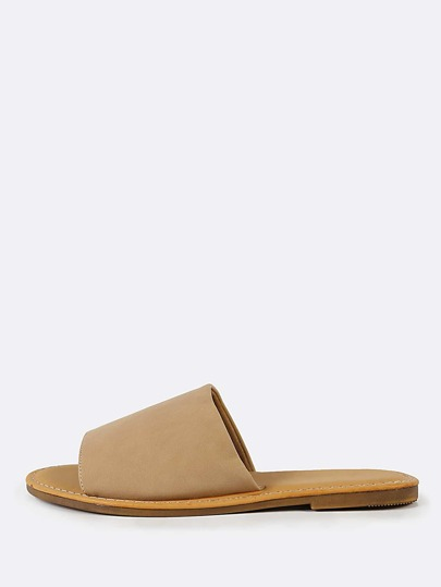 Wide Nubuck Single Band Slide Sandal NUDE