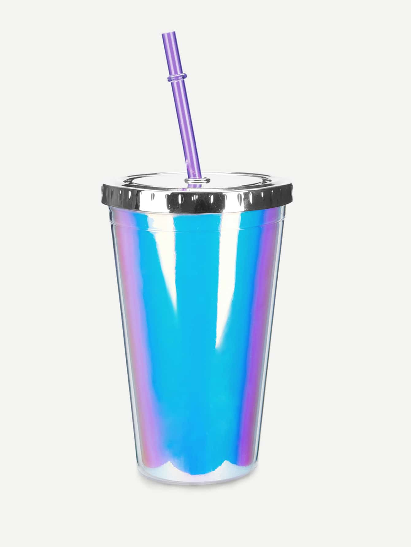 Iridescence Tumbler Cup With Lid & Straw