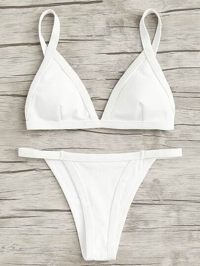 Rib Triangle Bikini Set