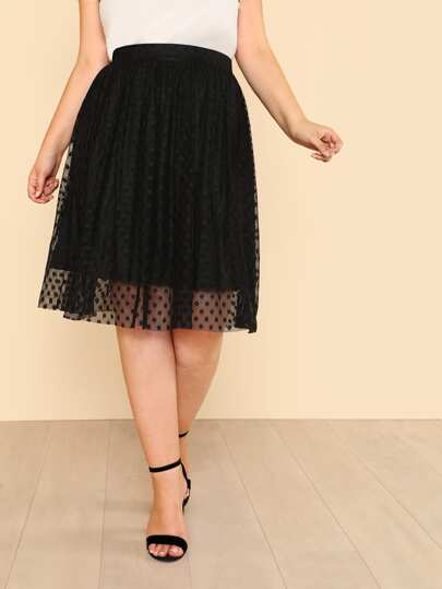 Dot Lace Overlay Flare Skirt