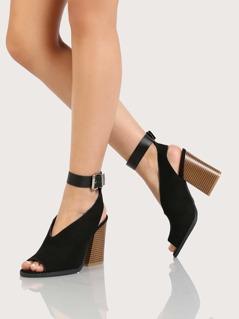 Faux Suede Peep Toe V Cut Chunky Heel BLACK