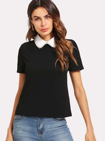 Contrast Collar Pearl Detail Top