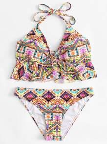 Knot Front Ruffle Trim Tie Dye Bikini Set