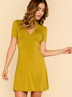 Keyhole Neck Open Back Flowy Dress