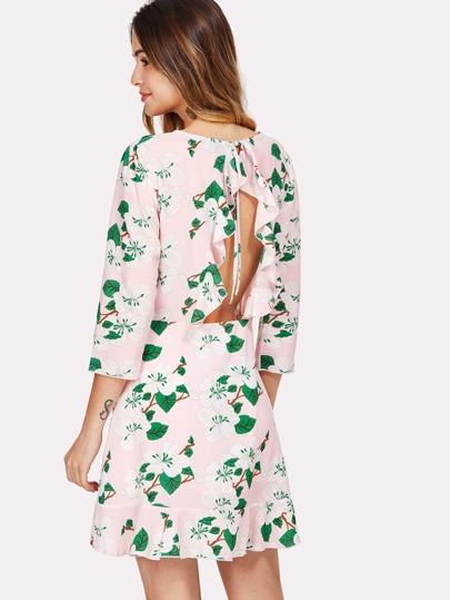 Fit & Flare Ruffle Hem Floral Dress