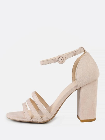 Faux Suede Strappy Thin Ankle Cuff Chunky Heel NUDE