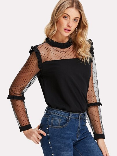 Dot Mesh Panel Frilled Detail Blouse