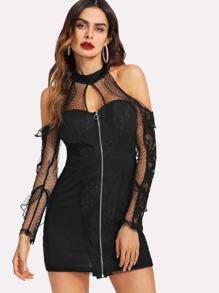 Dot Mesh Insert Cold Shoulder Zip Up Dress