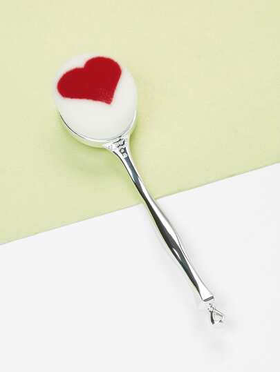 Heart Pattern Metal Handle Makeup Brush
