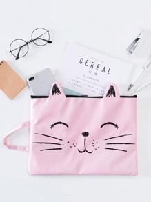 Cat Pattern Canvas File Folder Bag