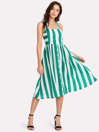 Halter Neck Mixed Stripe High Waist Dress