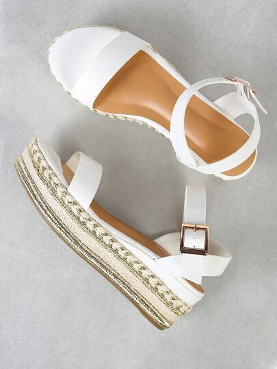 One Band Gold Trim Espadrille Platform Wedge Sandal WHITE