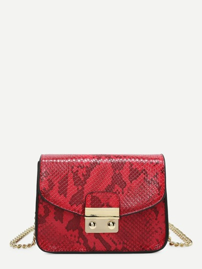 Snakeskin Print PU Chain Crossbody Bag