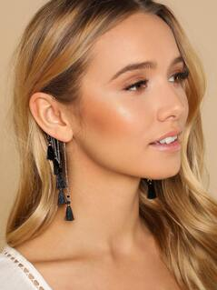 Ear Cuff with Dangling Black Tassels GOLD