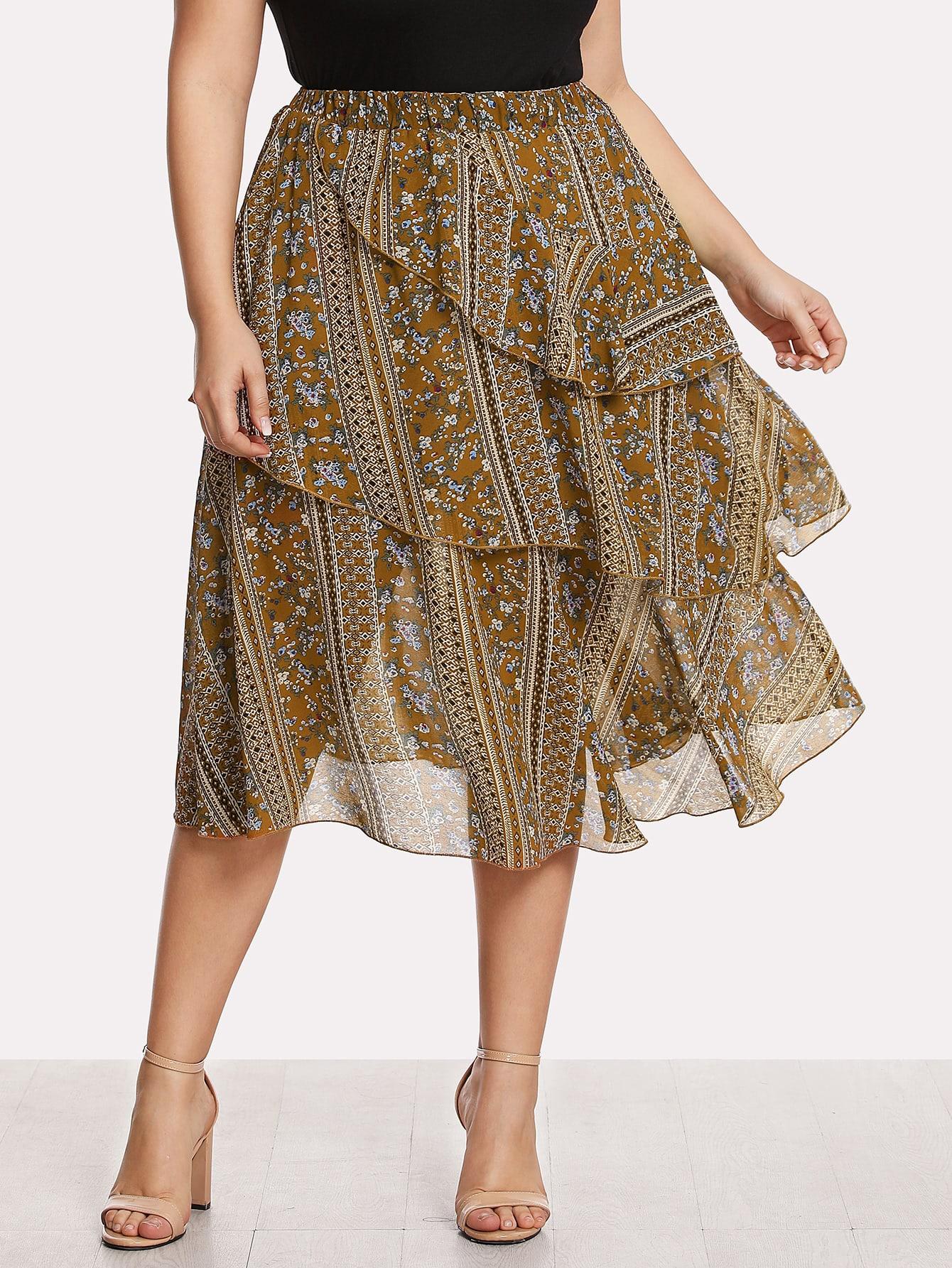 Mixed Print Layered Ruffle Skirt layered ruffle skirt pants