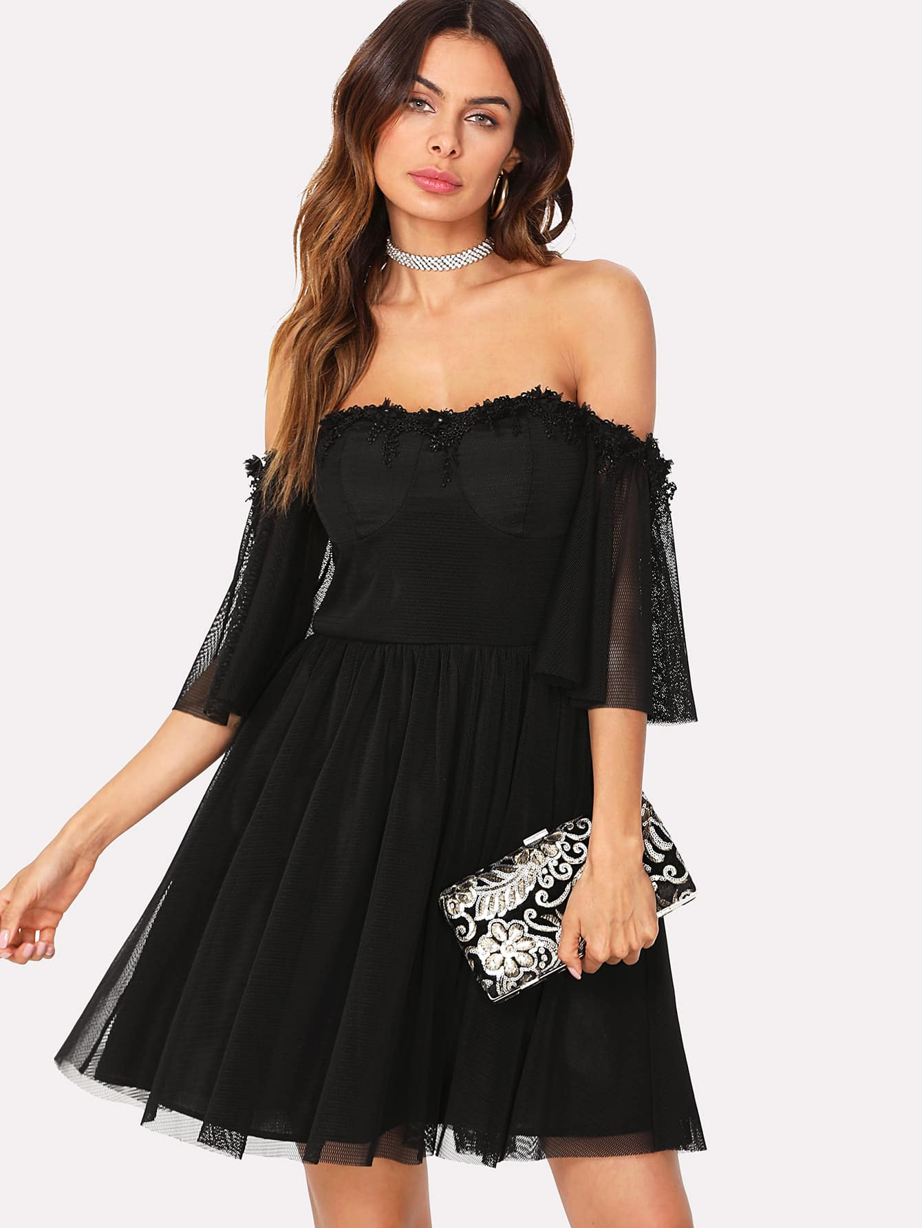 Lace Detail Mesh Overlay Bardot Dress dot mesh overlay frill detail fluted cuff top