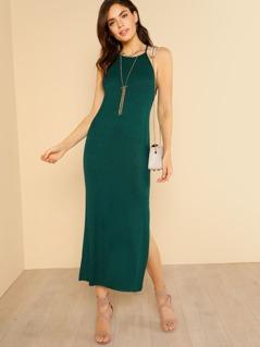 Ribbed Knit Dip Hem High Neck Shirt Dress HUNTER GREEN