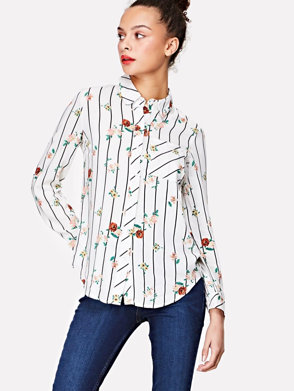 Flower & Stripe Print Curved Hem Shirt pocket patch curved hem snake skin print shirt