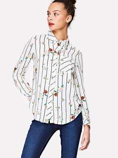 Flower & Stripe Print Curved Hem Shirt